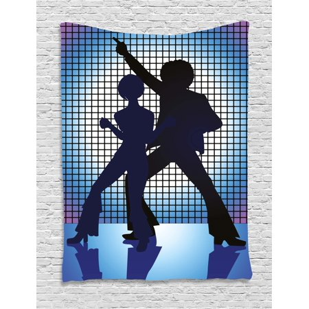 70s Party Decorations Tapestry, Couple Silhouettes on the Dance Floor Night Life Oldies Fun, Wall Hanging for Bedroom Living Room Dorm Decor, 60W X 80L Inches, Blue Purple Black, by Ambesonne