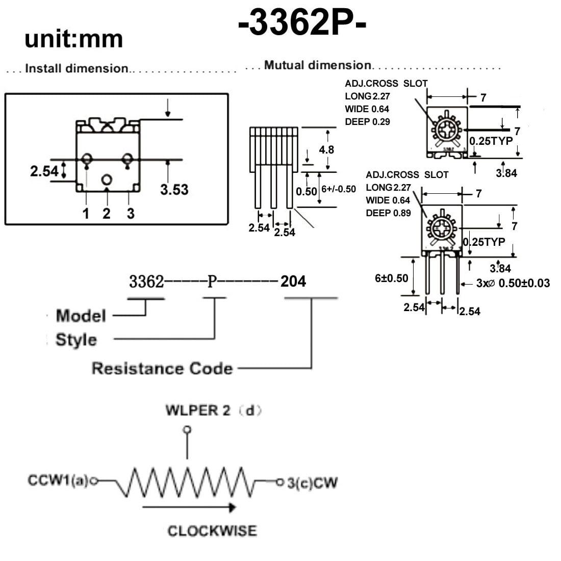 Resistors 200k Ohm Top Adjustment Horizontal Cermet Potentiometer 20 Pcs - image 5 de 6