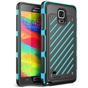 SUPCase Samsung Galaxy Note 4 Case - Unicorn Beetle S Series Two Layer Slim Armored Hybrid PC + TPU Cover - Blue Blue