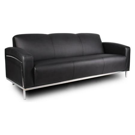 Boss BR99003-BK Caressoftplus Sofa with Polished Steel Frame -