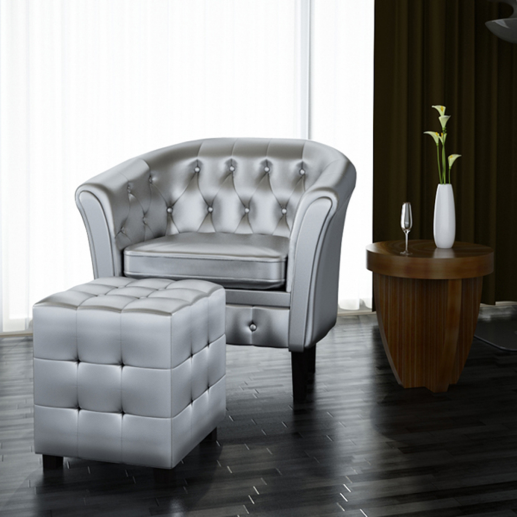 Artificial Leather Tub Chair Armchair with Footrest Silver by