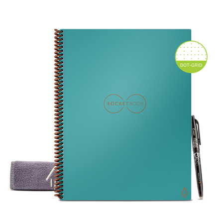 """Rocketbook Core Smart Notebook, Dot-Grid, 32 Pages, 8.5""""x11"""", Teal"""
