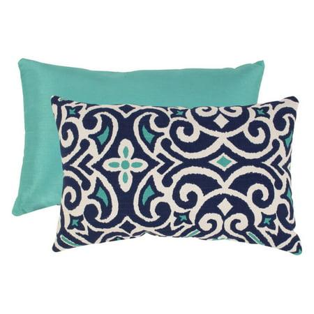 Pillow Perfect Blue and White Damask Rectangular Throw Pillow ()