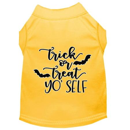 Trick Or Treat Yo' Self Screen Print Dog Shirt Yellow Lg](Yo Dog)