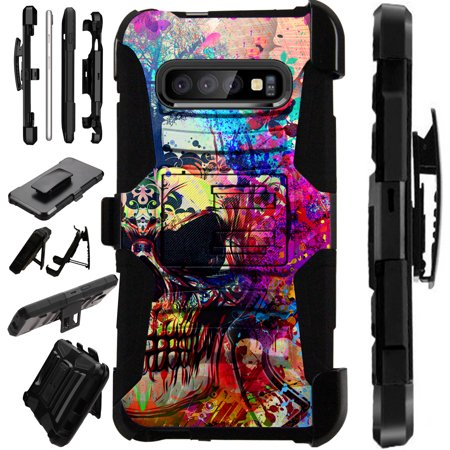 Compatible Samsung Galaxy S10 S 10 (2019) Case Armor Hybrid Phone Cover LuxGuard Holster (Half Evil
