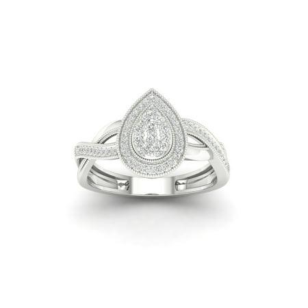 White Gold Pear Shape Ring (1/4Ct TDW Diamond 10K White Gold Pear Shape Cluster Halo Promise Ring (I-J, I2))