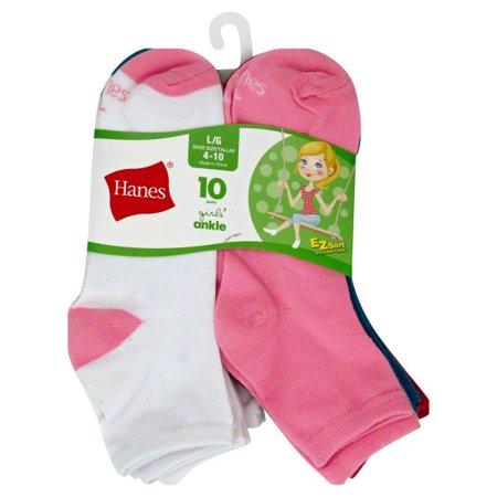 Hanes Girls Socks, 10 Pack Ankle (Little Girls & Big Girls)