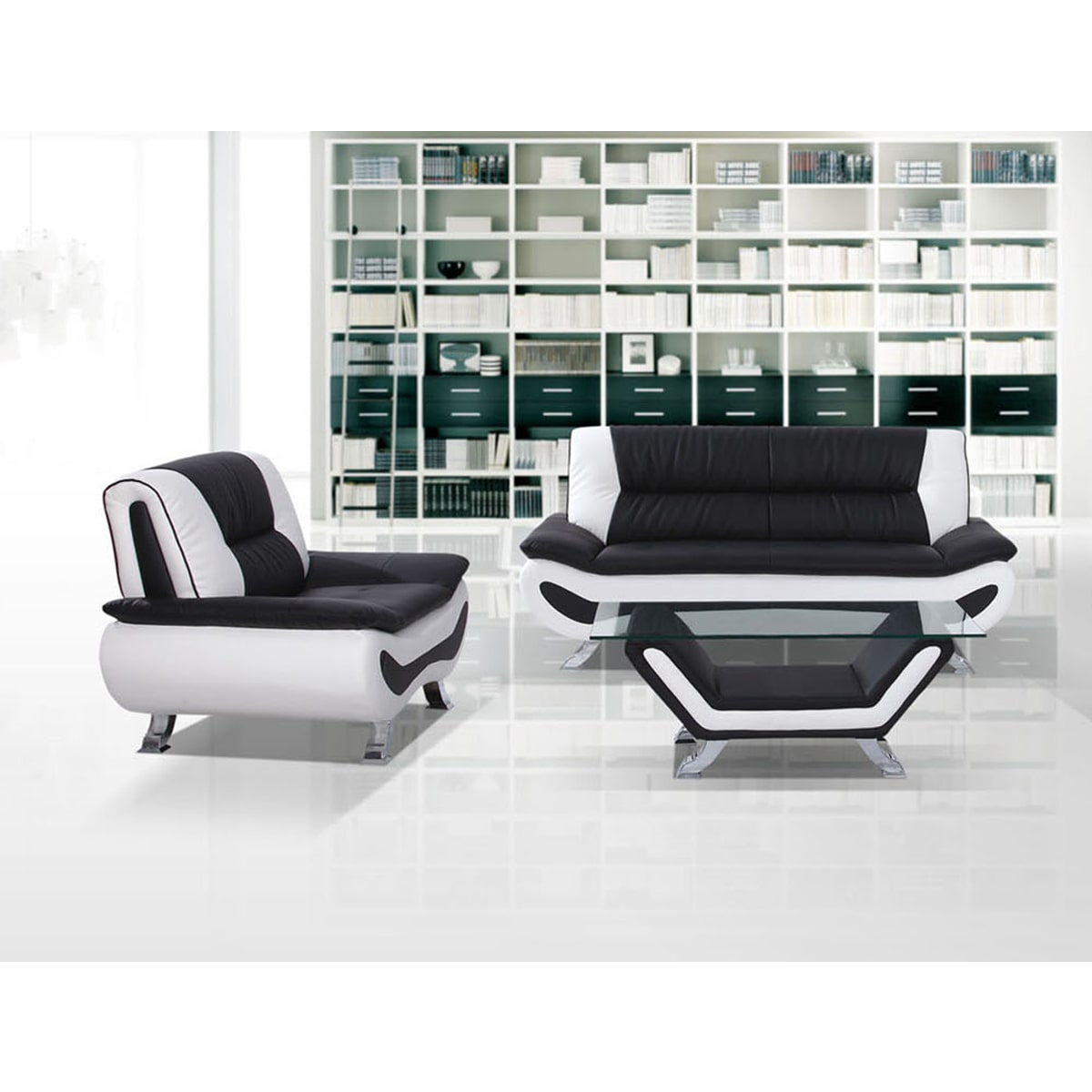 US Furnishing Express Arianna Modern Faux-leather 2-piece Living Room Sofa and Loveseat Set