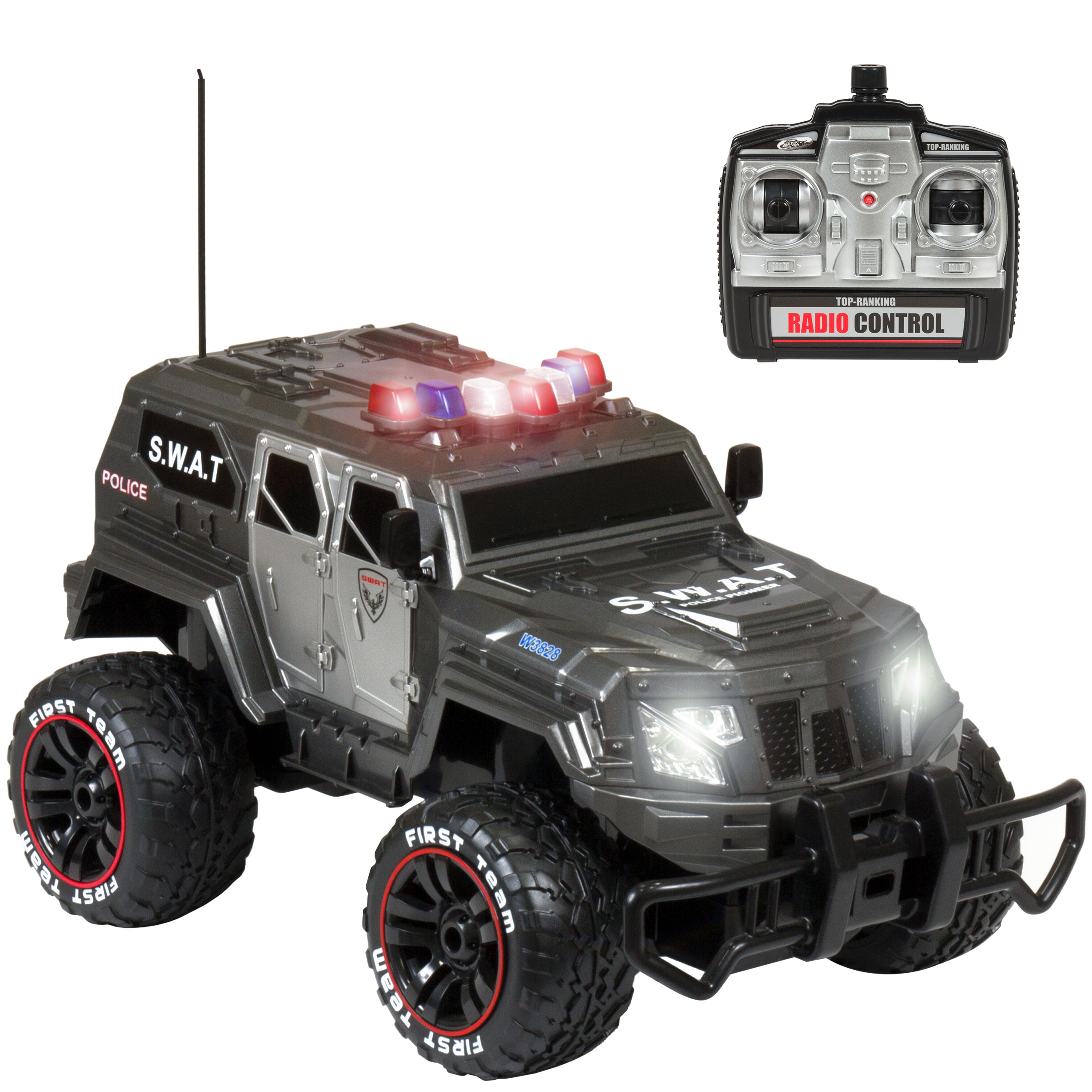 Best Choice Products 1:12 27Mhz Remote Control Police SWAT Truck RC Car w  USB Charger by Best Choice Products