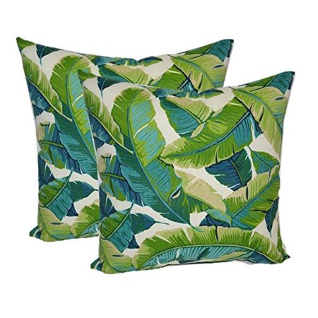 Set of 2 - Indoor / Outdoor Square Decorative Throw / Toss Pillows - Kiwi Green / Cancun Blue Bright Tropical Palm Leaf