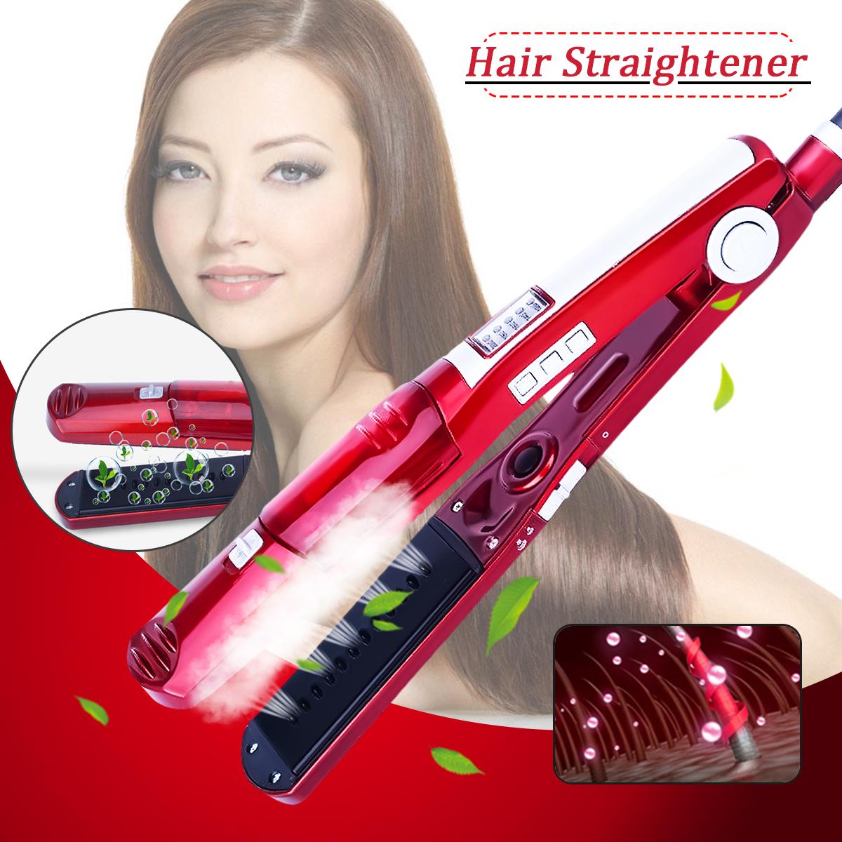 Professional Ceramic Vapor Steam Hair Straightener Brush Flat Iron Fast Heating - Hair Styling Tools