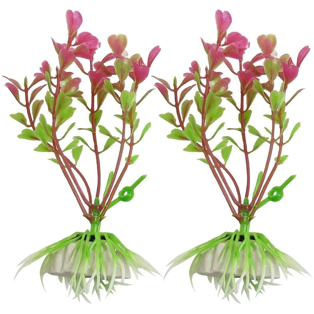 uxcell 2 Pcs 3.7 High Fuchsia Green Manmade Plant Grass for Fish Tank Aquarium