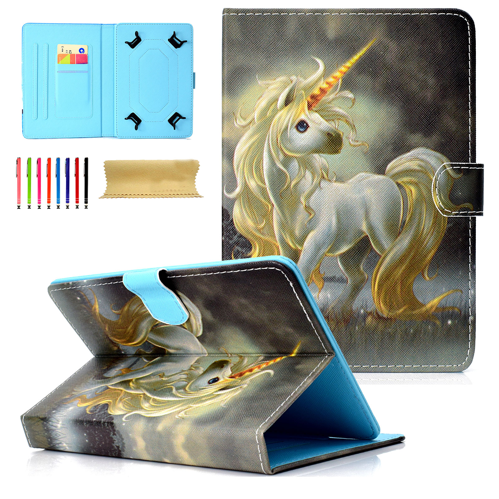 """Goodest Universal 8 Inch Tablet Case, Slim Fit Folio Protective Stand Wallet Cover for 7.5-8.5"""" Tablet 8"""" Touchscreen/iPad Mini/Galaxy Tab A/Fire HD 8/RCA/Chrome Nextbook iView, Unicorn"""
