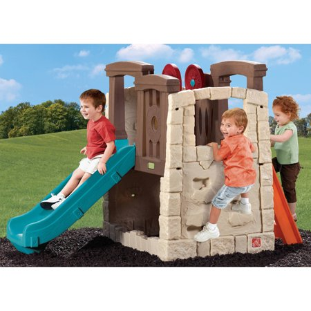 Step2 Naturally Playful Woodland Climber includes 2 steering wheels, 2 rock wall sides, slide, platform play area and an optional sandbox area underneath