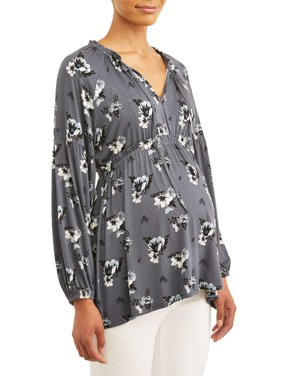 Maternity Concepts Women's Long Sleeve Peasant Top with Notch Neck (Available in Multiple Prints)