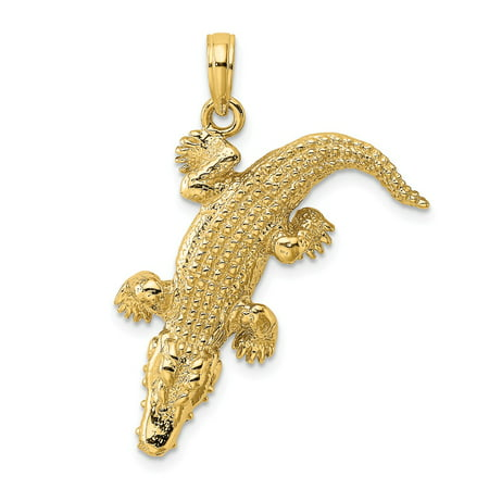 Gold Alligator (14k Yellow Gold 3-D Alligator and Moveable Mouth Charm Pendant)