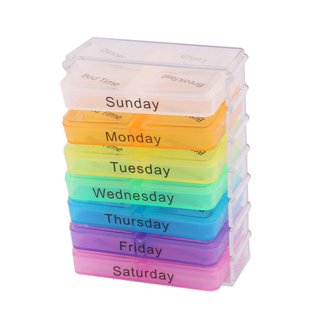 Plastic 28 Compartments Medicine Pill Holder Storage Box Case Assorted Color