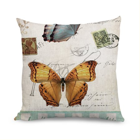 Popeven Modern Chic Linen Square Butterflies Decorative Pillow Case Cushion Cover Home Decor 18 X18