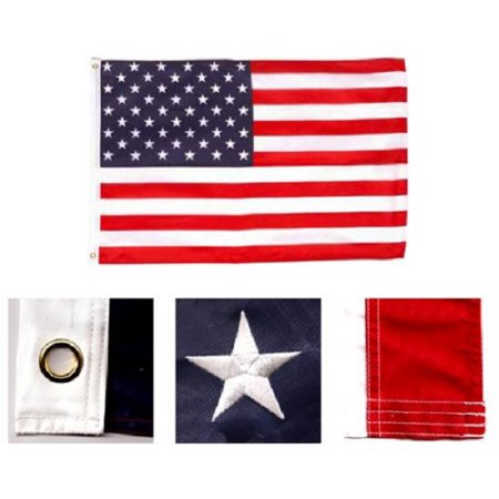 American Flag 3x5 Embroidered Sewn Stripes USA United States Banner US New 210D](Banner Flag)