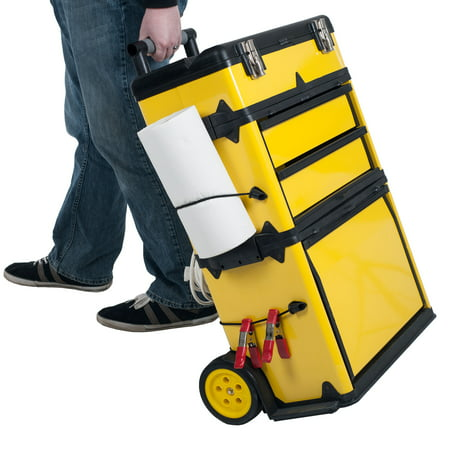 Stalwart Stackable Rolling Toolbox with Telescopic Comfort Grip Handle