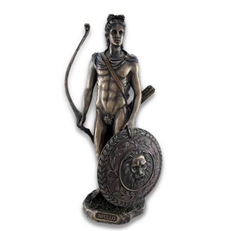Roman/Greek God Apollo with Shield and Bow Bronzed Statue
