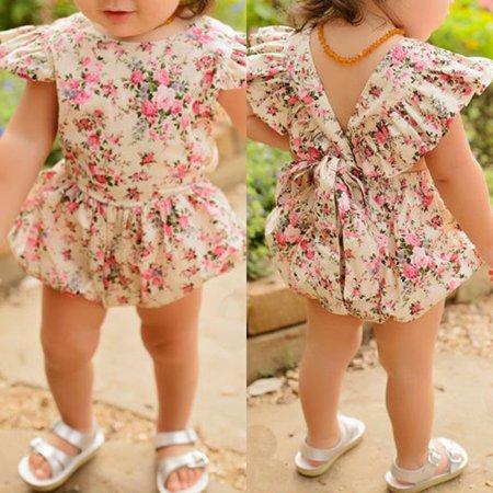 Baby Girls Newborn Clothes Cotton Summer Bodysuit Jumpsuit Summer Outfits Set Print Breathability Comfort Bodysuit Size 0-3M 100% Cotton Bodysuit Set