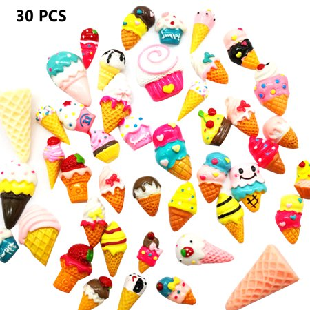 30 Pieces Slime Charms Mixed Ice Cream Series Beads Slime Bead Making Supplies for DIY Collage Crafts