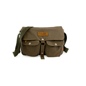 Men s Vintage Canvas Leather Satchel School Military Shoulder Messenger  Crossbody Hikin… 29cfccf5214ce