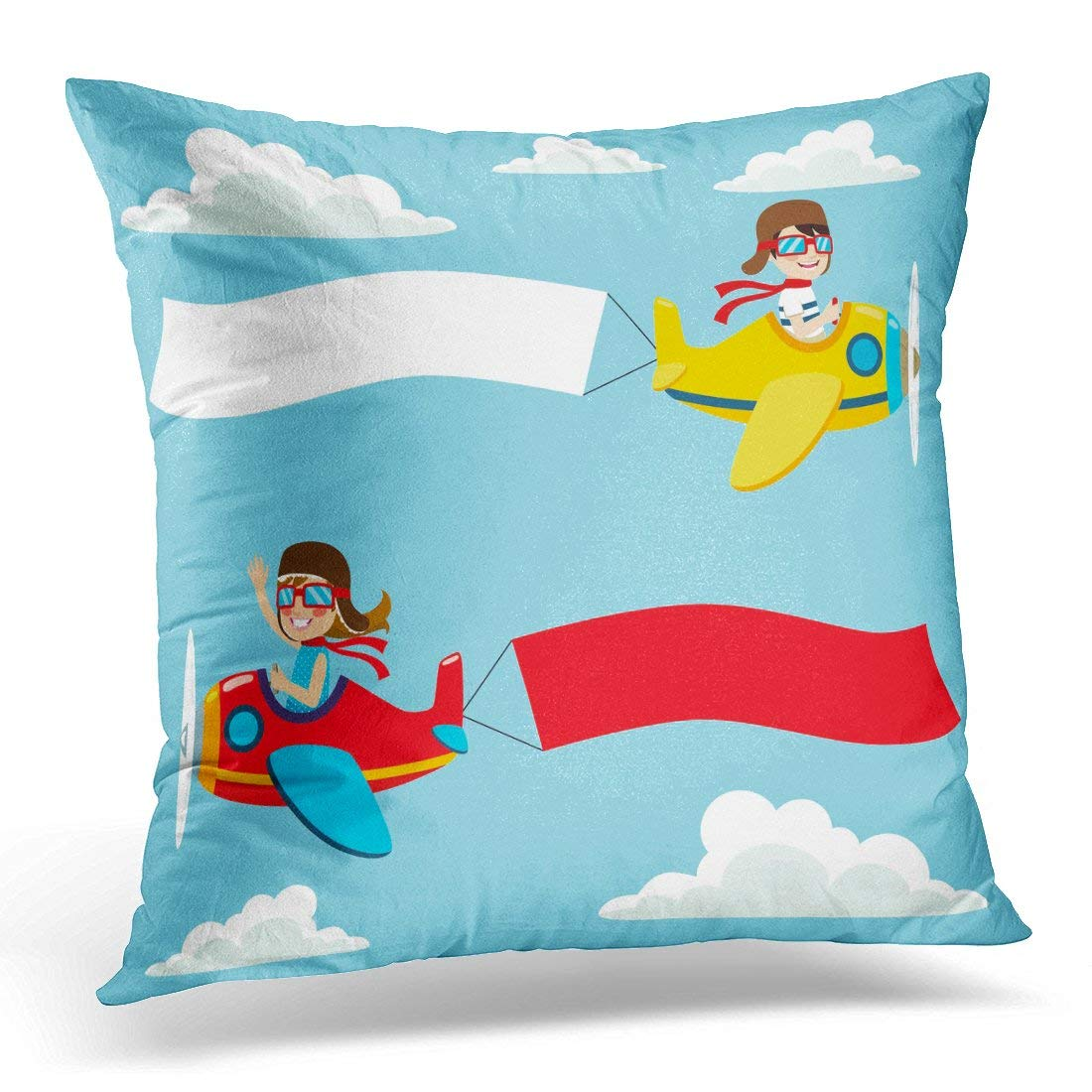 CMFUN Boy Little Pilot Kids on Airplane with White and Red Blank Fun Pillow Case Pillow Cover 20x20 inch