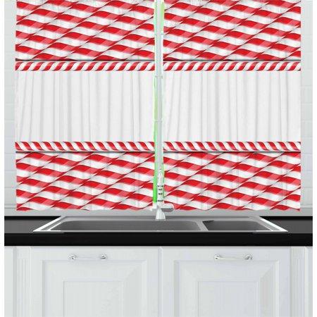 Candy Cane Curtains 2 Panels Set, Horizontal Border Design with Abstract Traditional Food Pattern Taste of Xmas, Window Drapes for Living Room Bedroom, 55W X 39L Inches, Red White, by Ambesonne ()