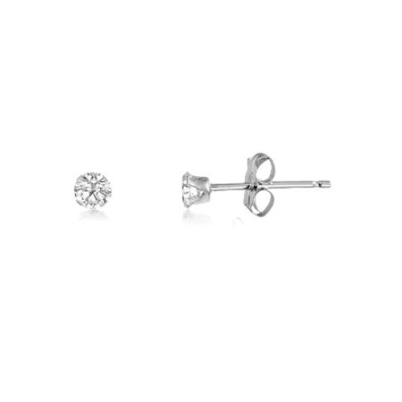 Round 2mm Sterling Silver Genuine White Topaz Stud Earrings, Free Gift Box -