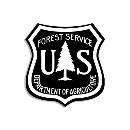2.5x2.5 inch BLACK US Forest Service Shield Sticker - hike logo forestry
