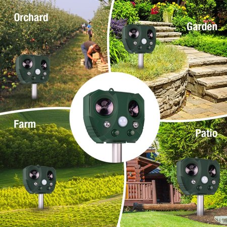 Solar Ultrasonic Animal Repeller, KCASA Solar Battery Powered Ultrasonic Animal Pest Repeller Bird Dog Insect Control Rodent Repellent with Motion Sensor for Garden Patio - image 2 of 10