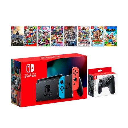 2019 New Nintendo Switch Red/Blue JoyCon Console, Zelda Breath of the Wild, Odyssey, Splatoon 2, Mario Kart 8, Valkyria Chronicles4, Hyrule Warriors, Donkey Kong Country, Rabbids Kingdom