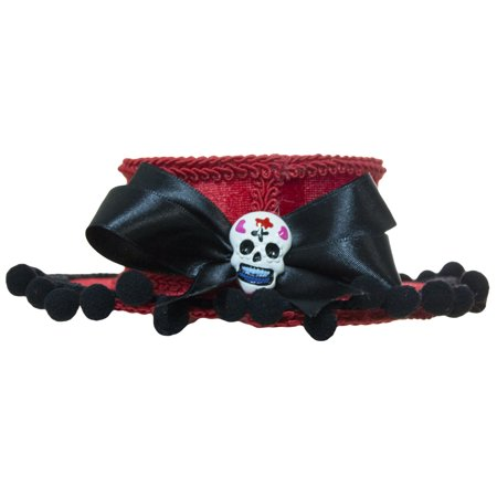 Day of the Dead Mini Red Gaucho Hat with Tassels and Bow - Spanish Gaucho Hat
