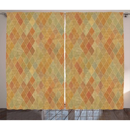 Vintage Tile Patterns - Retro Curtains 2 Panels Set, Geometric Rhombus Pattern with Faded Colors Vintage Effect Simplistic Tile Mosaic, Window Drapes for Living Room Bedroom, 108W X 108L Inches, Multicolor, by Ambesonne