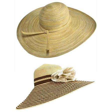 49170c58 Luxury Divas - 2-Pack Wide Brim Floppy Beach Hats - Walmart.com