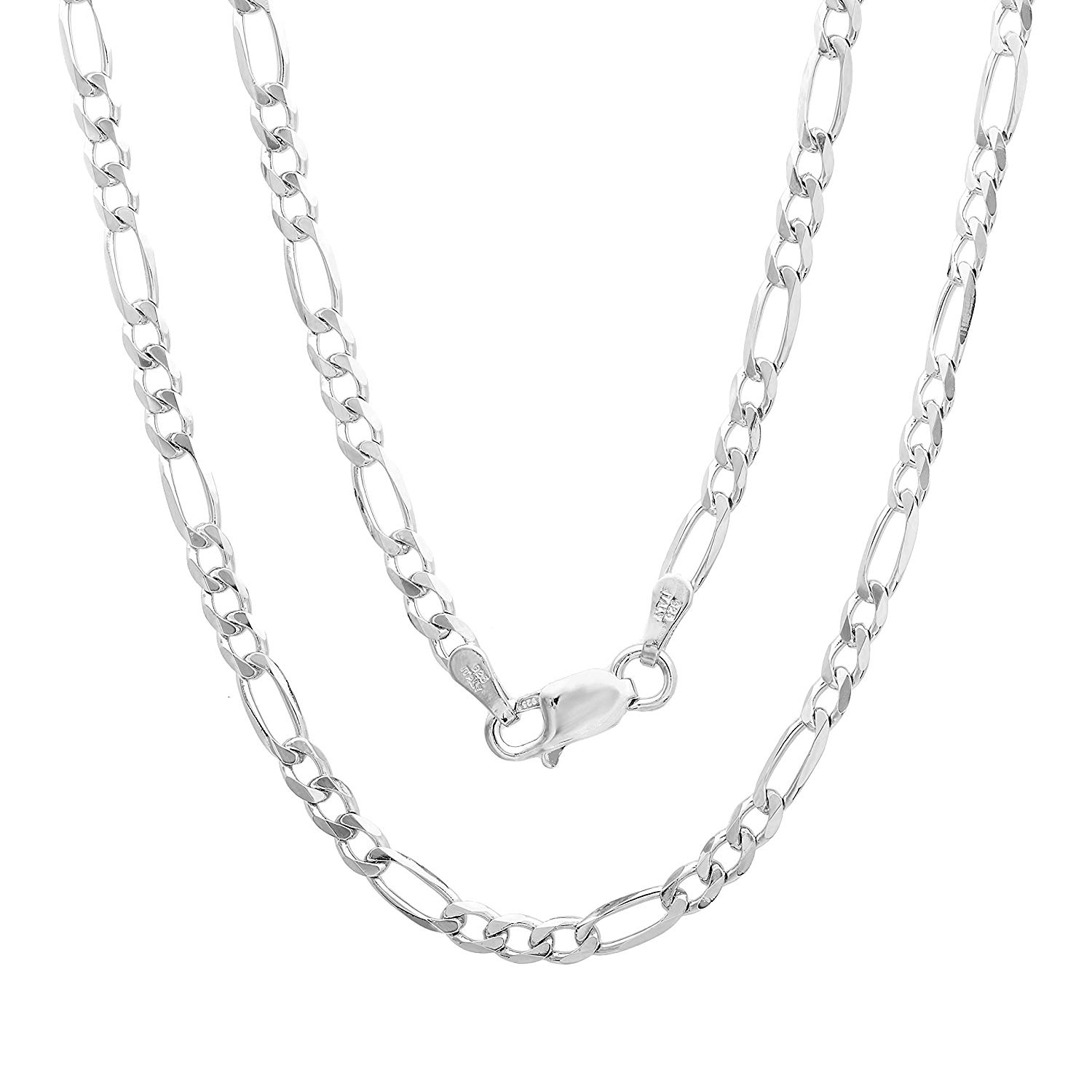 Sterling Silver 8.6 mm Wide Figaro Chain 30 Inch Long