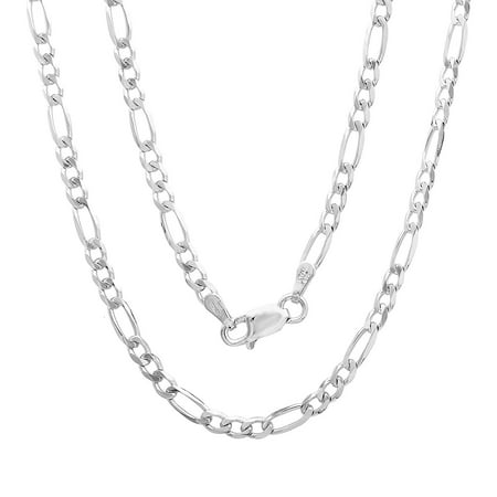 Authentic Solid Sterling Silver 3MM Figaro Link .925 ITProLux Necklace Chains, 16