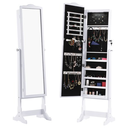 LANGRIA Mirrored Jewelry Cabinet Organizer with LED Lights, Full Length Standing Jewelry Storage Armoire with 5 Shelves and 3 Adjustable Angle, White Finish