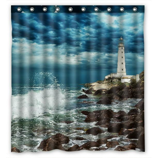 Phfzk Nautical Beach Shower Curtain Lighthouse Ocean Wave Rocky Beautiful Scene Polyester Fabric Bathroom Shower Curtain 66x72 Inches Walmart Com Walmart Com