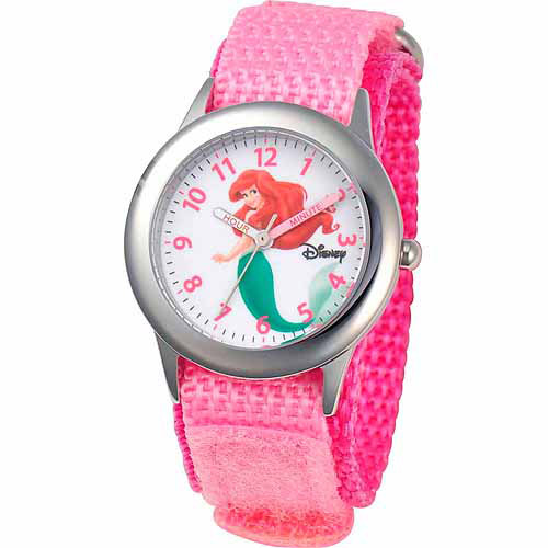 Disney Little Mermaid Ariel Girls' Stainless Steel Watch, Pink Strap