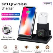 3 IN 1 Magnetic Qi Fast Charger Pad Stand Wireless Charging Station Dock For for iPhone / for Samsung phones / Apple Watch / Airpods .