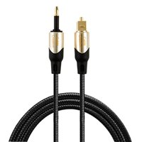 CableCreation 3 Feet Toslink Male to Mini Toslink Male Digital Optical S/PDIF Audio Cable with Metal Connectors, Black & Gold/ 0.9 Meter