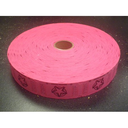 1 X 2000 Hot Pink Star Single Roll Consecutively Numbered Raffle Tickets, 2000 Hot Pink Star Single Roll Raffle Tickets By 50/50 Raffle Tickets
