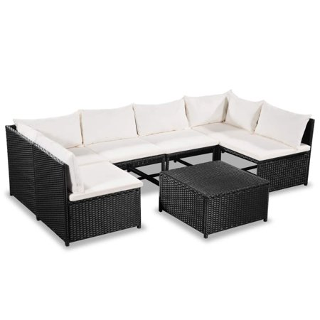 Incredible Garden Sofa Set Sectional 21 Pieces Outdoor Corner Center Sofas Coffee Table Back Pillows Seat Cushions Poly Rattan Black And Cream White Download Free Architecture Designs Scobabritishbridgeorg