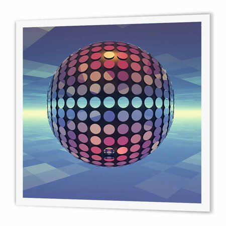 3dRose Mirror Ball reflecting mirror disco ball dances in the atmosphere above Earth, Iron On Heat Transfer, 6 by 6-inch, For White Material for $<!---->
