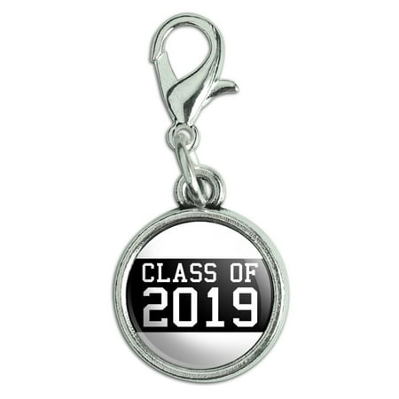 Class of 2019 Graduation Antiqued Bracelet Pendant Zipper Pull Charm with Lobster Clasp