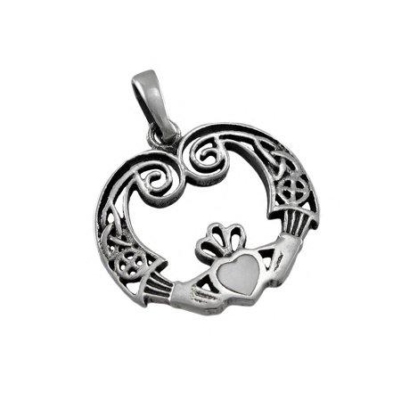 Sterling Silver Claddagh Pendant (Sterling Silver Irish Claddagh Pendant / Charm)