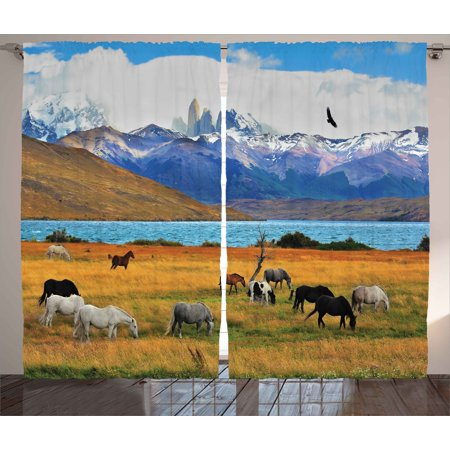 Animal Curtain Set (Scenery Curtains 2 Panels Set, Animal Farm with Horses in the Vast Combe with Mountains Desert Art Photograph, Window Drapes for Living Room Bedroom, 108W X 63L Inches, Multicolor, by Ambesonne )